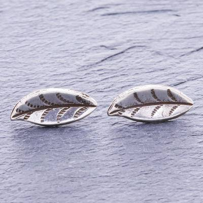 Silver button earrings, 'Lanna Leaf' - Hand Made Karen Silver Lanna Leaf Button Earrings