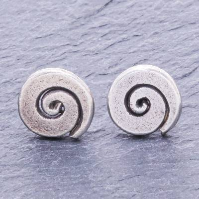 Silver stud earrings, 'Sunny Spirals' - Hand Crafted Karen Silver Spiral Stud Earrings