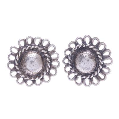 Silver button earrings, 'Sunflower Loops' - Hand Made Karen Silver Sunflower Button Earrings