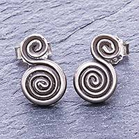 Silver stud earrings, 'Spiraling Circles' - Thai Hand Crafted Silver Spiral Stud Earrings