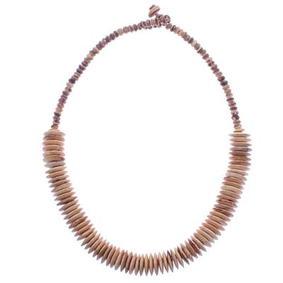 Coconut shell beaded necklace, 'Spinning Disks' - Hand Threaded Coconut Shell Beaded Necklace