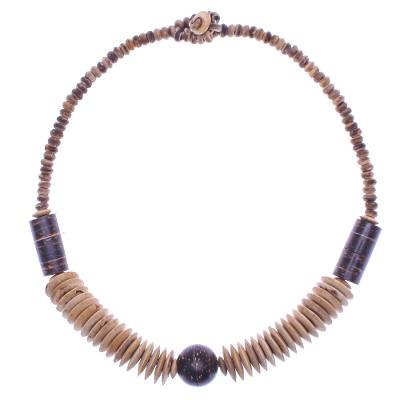 Coconut shell beaded necklace, 'Windy Forest' - Hand Threaded Coconut Shell Beaded Necklace