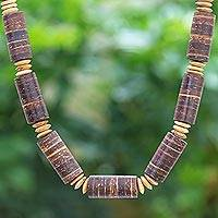Coconut shell beaded necklace, 'Coconut Dreams' - Thai Handmade Coconut Shell Beaded Necklace