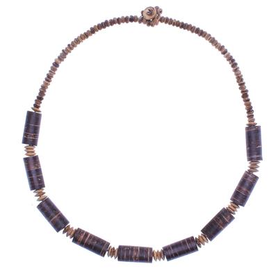 Coconut shell beaded necklace, 'Coconut Dreams' - Thai Handmade Coconut Shell Beaded Necklace