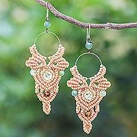 Agate beaded macrame dangle earrings, 'Boho Party in Beige'
