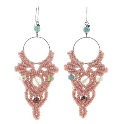 Agate beaded macrame dangle earrings, 'Boho Party in Beige' - Beige Macrame Cord Dangle Earrings with Agate Beads