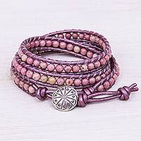 Rhodonite beaded wrap bracelet, 'Pink Candy' - Rhodonite Beaded Leather Cord Wrap Bracelet