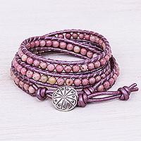 Rhodonite beaded wrap bracelet, 'Pink Candy'