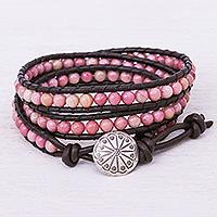 Beaded wrap bracelet, 'Choco Pink' - Hand-Woven Beaded Wrap Bracelet