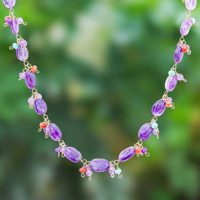 Gold-plated amethyst beaded necklace, 'Sunset Mood in Violet' - Gold Plated Necklace with Quartz and Amethyst Beads