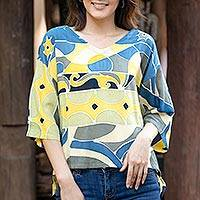 Cotton batik blouse, 'Ocean Song' - Artisan Crafted Cotton Batik Blouse from Thailand