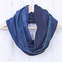 Cotton infinity scarf, 'Twilight Skies'
