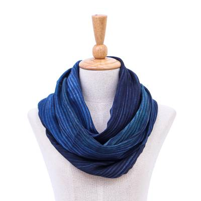 Cotton infinity scarf, 'Twilight Skies' - Thai Hand Woven Cotton Infinity Scarf