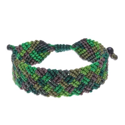 Onyx Bead and Macrame Wristband Bracelet