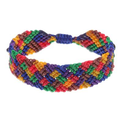 Rainbow Macrame Wristband Bracelet with Onyx Beads
