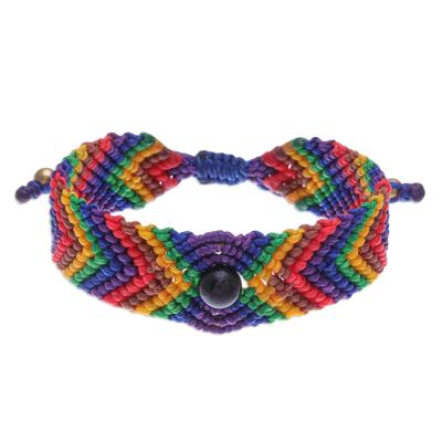 Onyx beaded macrame wristband bracelet, 'Rainbow Cool' - Onyx Bead and Macrame Rainbow Bracelet