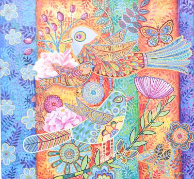 Bird Themed Original Acrylic Painting