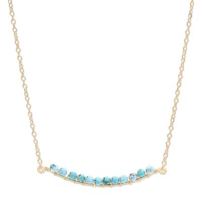 Gold Plated Reconstituted Turquoise Bar Necklace