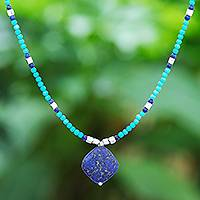 Howlite and lapis lazuli beaded pendant necklace, 'Nature Moon' - Lapis Lazuli and Blue Howlite Beaded Pendant Necklace