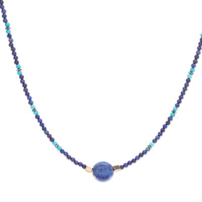 Multi-gemstone beaded pendant necklace, 'Star of Midnight' - Lapis Lazuli Howlite Beaded Pendant Necklace