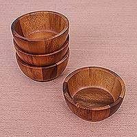 Wood bowls, 'Daily Meal' (set of 4) - Artisan Crafted Wood Bowls from Thailand (Set of 4)