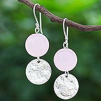 Rose quartz dangle earrings, 'Shining Moon in Pink' - Hand Crafted Rose Quartz and Sterling Silver Dangle Earrings