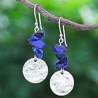 Lapis lazuli dangle earrings, 'Shining Moon in Blue' - Thai Lapis Lazuli and Sterling Silver Dangle Earrings