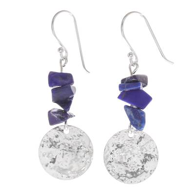 Thai Lapis Lazuli and Sterling Silver Dangle Earrings