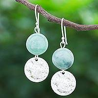 Jade dangle earrings, 'Shining Moon in Green' - Hand Made Jade and Sterling Silver Dangle Earrings