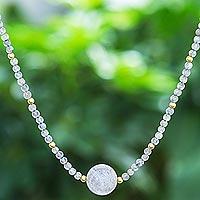 Labradorite beaded pendant necklace, 'Precious Orb' - Artisan Made Labradorite Beaded Pendant Necklace