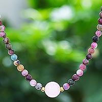 Tourmaline and rose quartz beaded pendant necklace, 'Precious Orb in Rose' - Hand Made Tourmaline and Rose Quartz Beaded Necklace