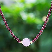 Garnet and rose quartz beaded pendant necklace, 'Precious Orb in Crimson' - Handmade Garnet and Rose Quartz Beaded Necklace