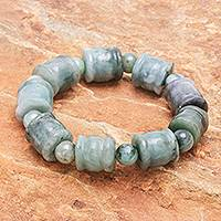 Jade stretch bracelet, 'Barrels and Beads' - Round and Barrel Shaped Jade Bead Stretch Bracelet
