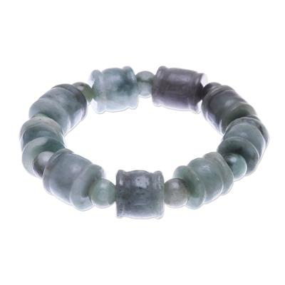 Round and Barrel Shaped Jade Bead Stretch Bracelet