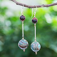 Jasper and tiger's eye dangle earrings, 'Earthly Love' - Jasper and Tiger's Eye Dangle Earrings