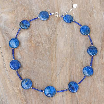 Lapis lazuli beaded necklace, 'Midnight Blue Moon' - Lapis Lazuli Beaded Necklace with Karen Hill Tribe Silver