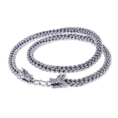 Hand Made Sterling Silver Naga Chain Dragon Necklace
