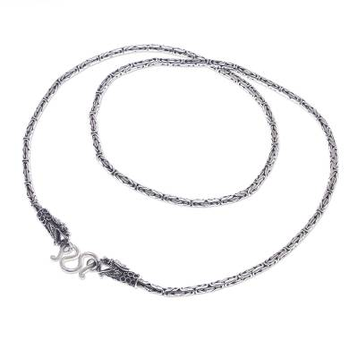 Artisan Made Sterling Silver Borobudur Chain Dragon Necklace