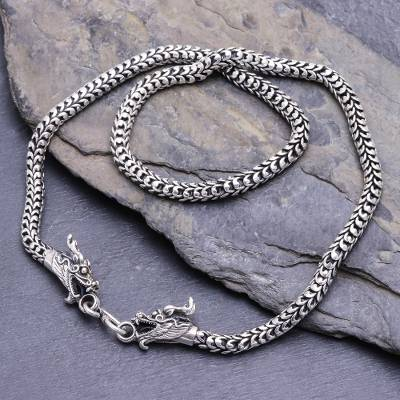 Sterling silver chain necklace, 'Dragon's Riddle' - Thai Hand Crafted Sterling Silver Naga Chain Dragon Necklace