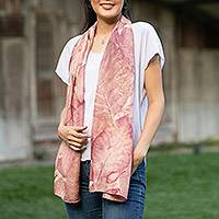 Silk shawl, 'Teak Leaves' - Eco-Printed 100% Purple Silk Shawl Leaf Motif