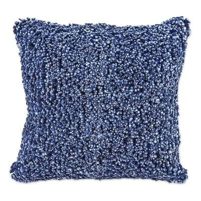 Hand Knit Navy Cotton Cushion Cover from Thailand