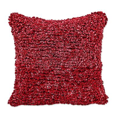 Hand Crafted Red Cotton Cushion Cover from Thailand