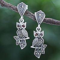 Marcasite and garnet dangle earrings, 'Omniscient Owl' - Sterling Silver Marcasite and Garnet Owl Dangle Earrings