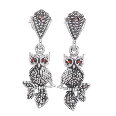 Marcasite and garnet dangle earrings, 'Omniscient Owl' - Sterling Silver Marcasite and Garnet Owl Dangle Earrings