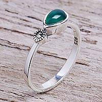 Onyx and marcasite cocktail ring, 'Verdant Tear' - Green Onyx and Marcasite Cocktail Ring