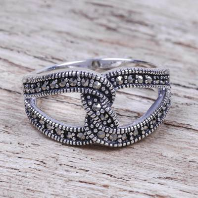 Marcasite band ring, 'Luxury Wave' - Thai Sterling Silver and Marcasite Gemstone Band Ring