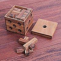 Wood puzzle, 'Soma Cube Challenge' - Raintree Wood Soma Cube Puzzle from Thailand