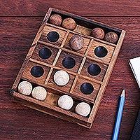 Wood game, 'Lucky Strike' - Hand Carved Raintree Wood Tic-Tac-Toe Board Game