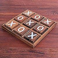 Wood game, 'Simple Strategy' - Hand Painted Tic-Tac-Toe Raintree Wood Game from Thailand