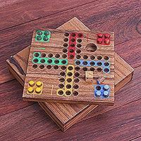 Wood game, 'Around the World' - Handmade Raintree Wood Ludo Board Game from Thailand
